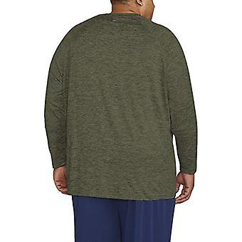Essentials Men's Big & Tall Tech Stretch Long-Sleeve T-Shirt fit by DXL, Olive Green Spacedye, 5X Tall