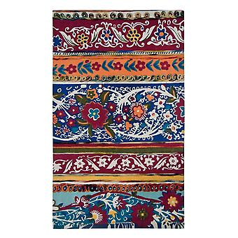 Spura Home Hand Dip dye Felt Floral Embroidery Asian Multi-Color Runner Rug 2x4
