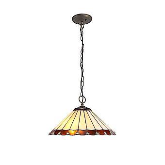 Luminosa Lighting - 3 Light Downlighter Sufit Wisiorek E27 z 40cm Tiffany Shade, Bursztyn, Kryształ, W wieku Antyczny Mosiądz