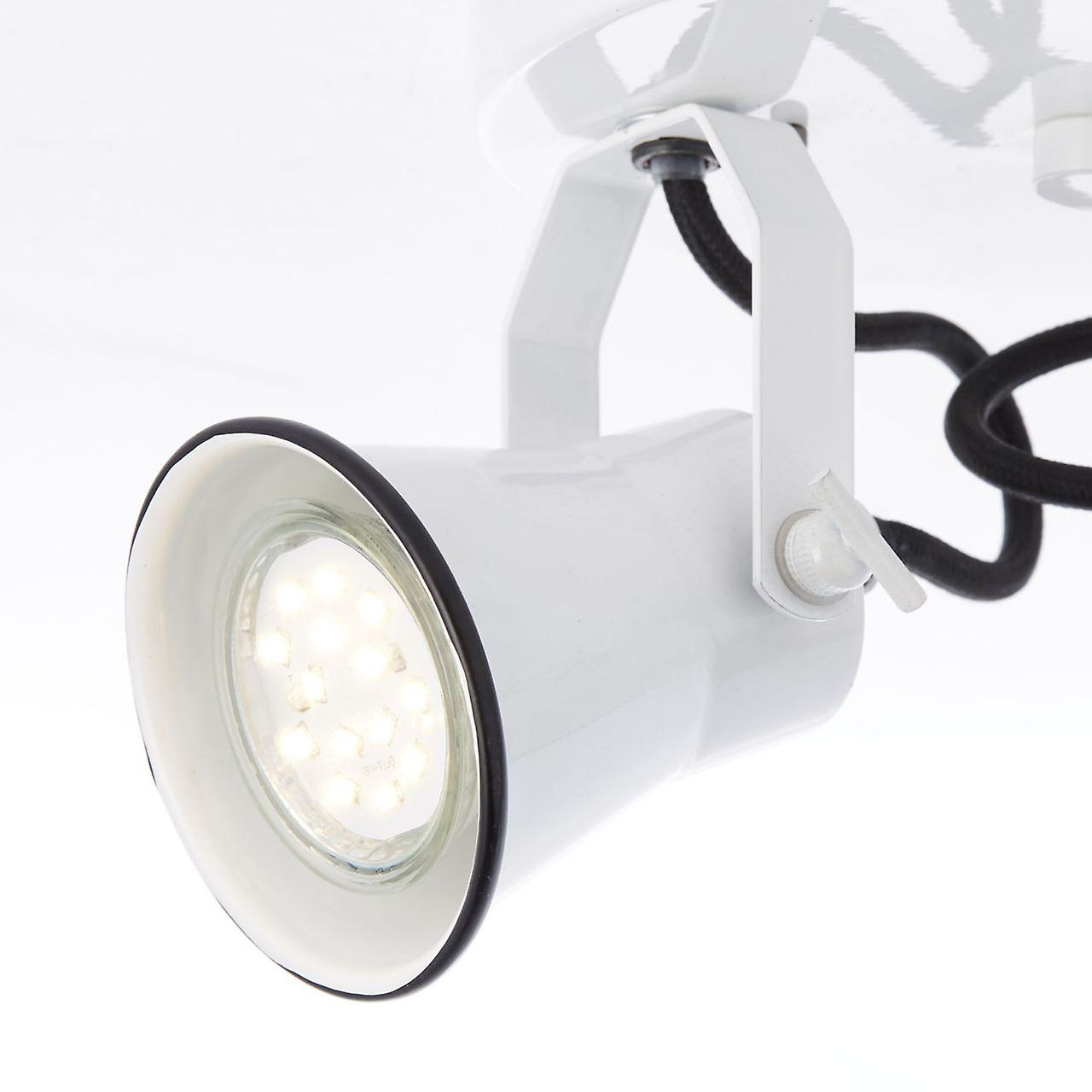 BRILLIANT Lampe Rancher Spotrondell 2flg weiß hochglanz | 2x PAR51, GU10, 6W, geeignet für Reflektorlampen (nicht enthalten) | Skala A++ bis E | Köpfe schwenkbar