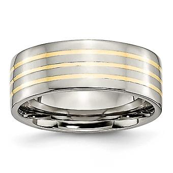 Titanium Flat Band Engravable 14k Gold Inlay 8mm Polished Band Ring Jewelry Gifts for Women - Ring Size: 6 to 13