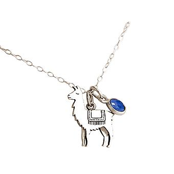 GEMSHINE necklace LAMA or ALPACA pendant 925 silver, gold plated, rose, sapphire
