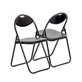 Negro acolchado, plegable, silla de escritorio / marco negro - paquete de 2