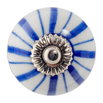 Nicola Frühling Keramik Schrank Schublade Knopf - Blumen-Design - dunkelblaue Linien