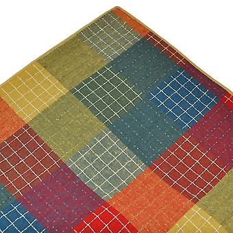 Corbatas Planeta Tresanti Rojo, Verde y Azul con Beige Edge Checked Linen Pocket Square Handkeref