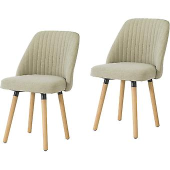 SoBuy FST84-MIx2,Set of 2 Dining Chairs Fabric Upholstered Seat Backrest & Beech Wood Legs