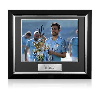 David Silva a signé Manchester City Photo: Premier League Champions. Cadre de luxe