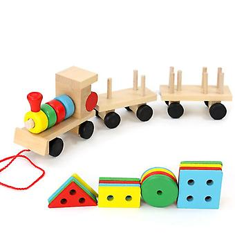 Small Wooden Train And Dragging Three Carriage Geometric Shape Matching, Early