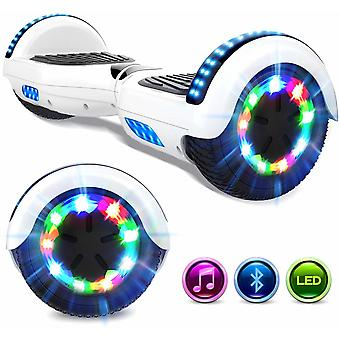 Right Choice Hoverboard Self Balanced Electric Scooter - eingebaute Bluetooth Lautsprecher - LED Wheel-White