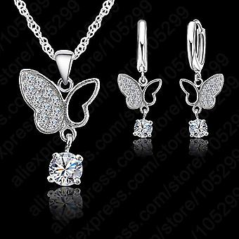 925 Sterling Silver  Statement Butterfly Crystal Necklace Pendand Jewelry Set