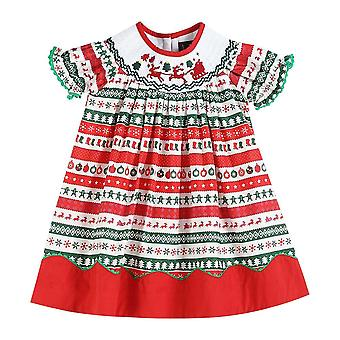 Christmas Striped Smocked Bishop Dress
