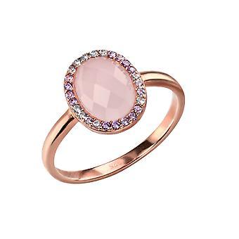Elemente Silber Sterling Silber Rose Gold Platte Rosenquarz und CZ ovalen Ring