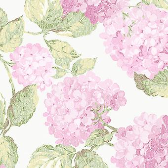 Galerie English Florals Pink Hydreangea Wallpaper Botanic Textured Traditional