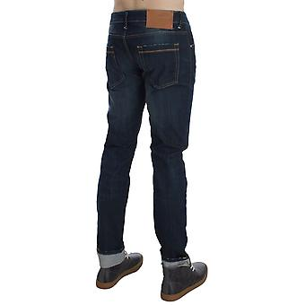 Acht Blue Wash Cotton Stretch Slim Skinny Fit Jeans Brązowy tag