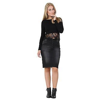 Knee length black denim skirt midi skirt - size 8
