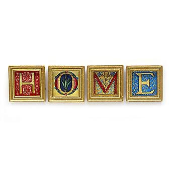 Dolls House 4 Home Pictures Paintings In Square Gold Frame Miniature Accessory