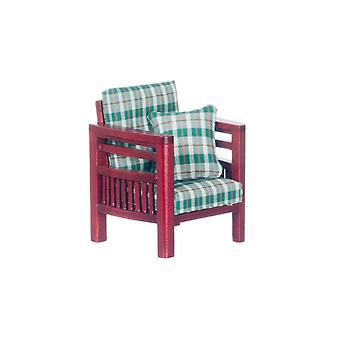 Dolls House Mahogany & Green Check Family Room Armchair Living Room Furniture