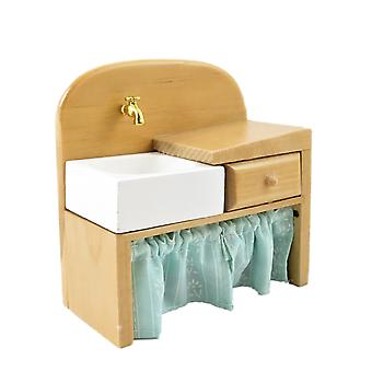Dolls House Light Oak Sink Unit With Curtain Old Fashioned Kitchen Furniture