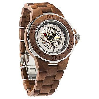 Men's γνήσια αυτόματα ξύλινα ρολόγια καρυδιάς χωρίς μπαταρία που απαιτείται