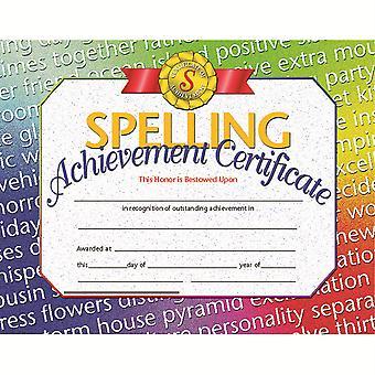 "Spelling Achievement Certificate, 8.5"" X 11"", Pack Of 30 H-Va676"