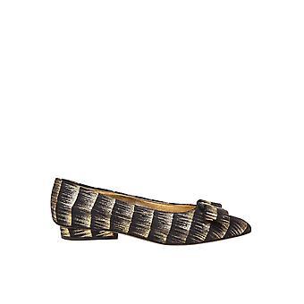 Salvatore Ferragamo Viva Women's Zwart/goud Lederen Flats