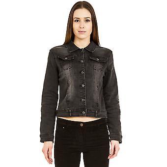 Faded Stretch Denim Jacket - Black