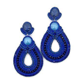 Hoop Teardrop z koralikami kolczyki w kolorze royal niebieski