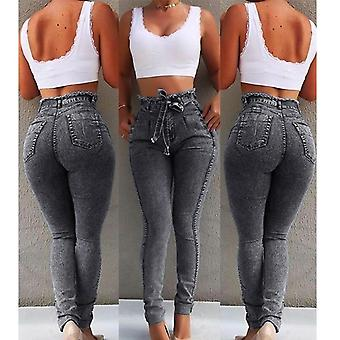 Women Slim Stretch Denim Jean Bodycon Tassel Belt Bandage Skinny Push Up Jeans
