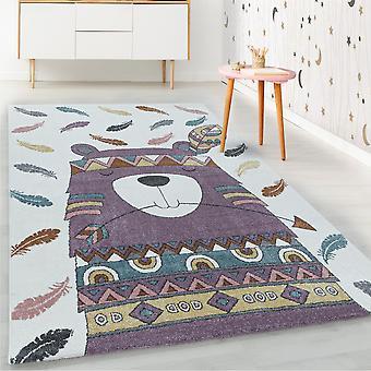 ShortFlor niños alfombra violeta oso indio pluma diseño alfombra infantil