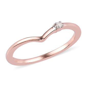 Diamant-Wunschknochen-Ring in Rose Gold Overlay Sterling Silber