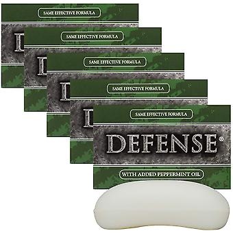 Defense Soap 4 oz. Antimicrobial Therapeutic Body Bar Soap 5 Pack - Peppermint
