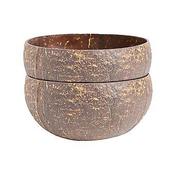 2x Natural Coconut Bowls Eco Friendly Acai Buddha Bowls 12cm Brown