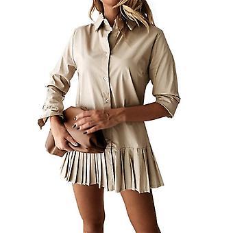 Long Sleeve  Pleated Shirt Dress