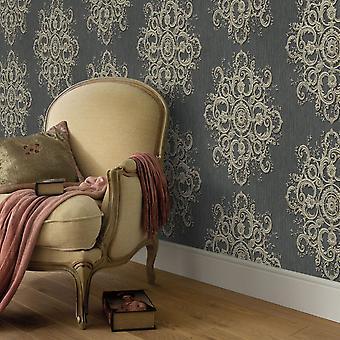 Elle Decoration Baroque Damask Wallpaper Dark Grey Gold 1015415