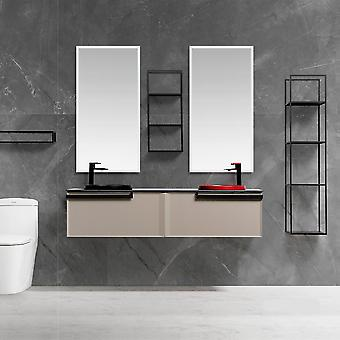 Bathroom Furniture, Light Luxury Solid Wood Cabinet, Ceramic Basin, Led Mirror
