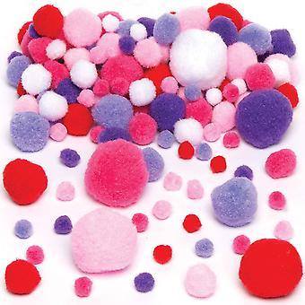 FengChun Pompons in Rot, Pink, Violett und Wei fr Kinder zum Dekorieren und Basteln - Kreatives