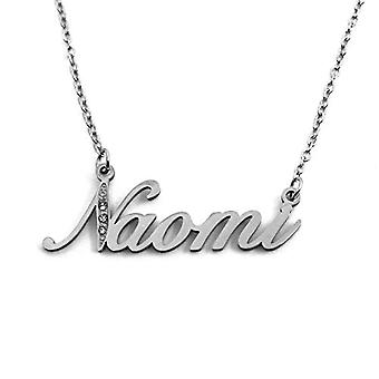 Kigu Naomi - Necklace with name, customizable, in silver tonalit, with delicate name, jewel for woman, girlfriend, mother, Ref. 4993933194518