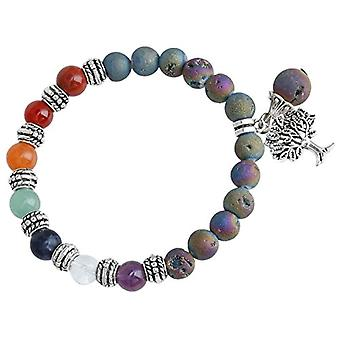 KYEYGWO - Women's elastic bracelet with pearls and tree of life, handmade, natural chakra stone, Ref crystal. 0715444089510