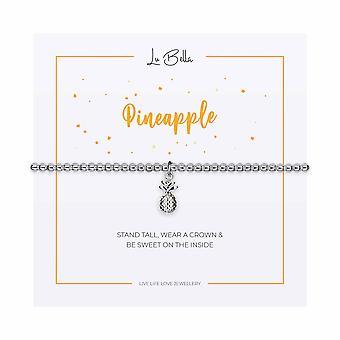 Ananas - Bracelet Sentiments 17.5cm - Argent - Cadeaux bijoux pour femmes de Lu Bella