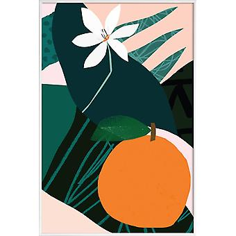 JUNIQE Print - Orange - Fleurs de fleurs en vert et orange