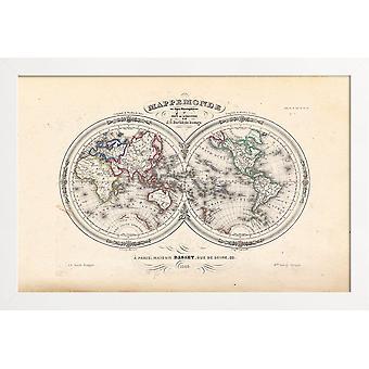 JUNIQE Print - Karta över världen på halvklotet, Barbie Du Bocage - Kartografi Affisch i Grått & Svart
