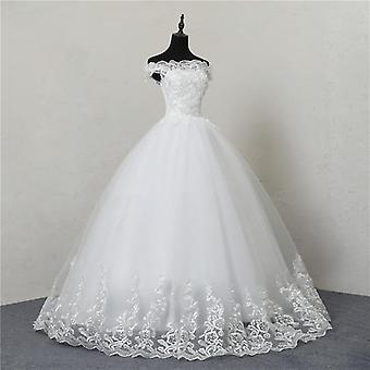 Novo vestido de noiva lace boat pescoço fora do vestido de baile ombro