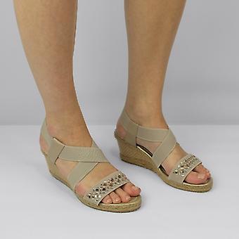Shumo Marietta Ladies Strappy Wedge Heel Sandals Taupe