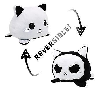 Valkoiset uudet lelut flip söpö kissa pehmolelut muhkeat lelut kaksipuolinen ilmeet dt8233