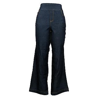 Denim & Co. Women's Pants Reg Lightweight Wide-Leg Denim Blue A367988
