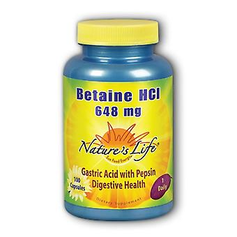 Nature's Life Betaine HCl, 648 mg, 100 caps