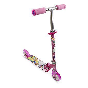 バービードリームトピア子供折りたたみ可能な2輪インラインスクーターLEDホイールガールピンク