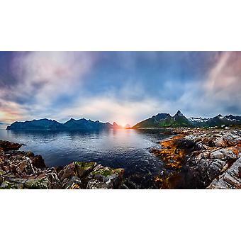 Tapeta Mural Norweski Krajobraz Naturalny. Jezioro brzegowe.