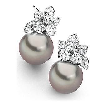 Luna-Pearls Stud Earrings 750 WG Tahitian Pearl 98 Brill. H SI 0.50ct - 313.0524