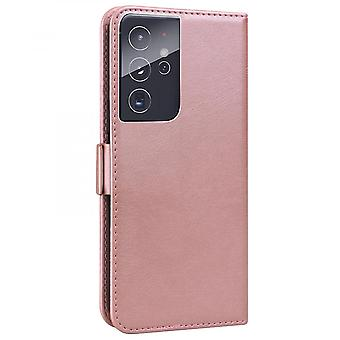 Case For Samsung Galaxy S21 Ultra Wallet Flip Pu Leather Cover Card Holder Coque Etui - Pink Cat